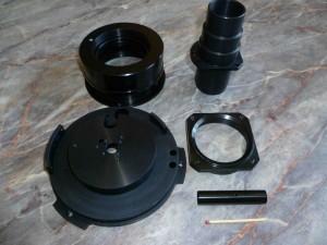 Kurzdrehteile aus Aluminium mit brünierter Oberfläche für die Optische Industrie